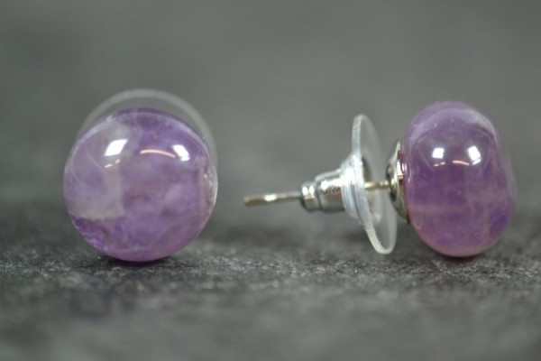 Amethyst Cabochon Ohrstecker Silber farbener Fassung Edelstein 12mm OH33014